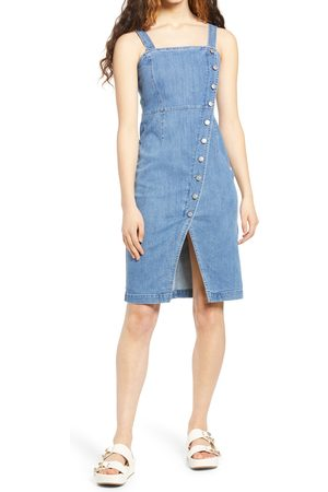 VERO MODA Women's Julia Asymmetrical Button Front Denim Sundress