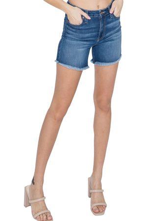 L.T.J. Women's L.t.j High Waist Fringe Hem Denim Shorts