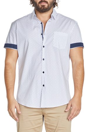 Johnny Bigg Men's Big & Tall Archie Dot Print Stretch Short Sleeve Button-Up Shirt