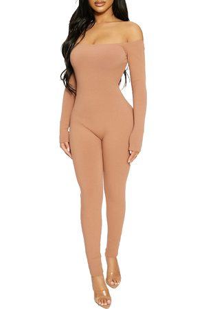 Naked Wardrobe Women's Off The Shoulder Rib Jumpsuit