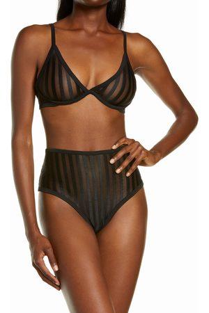 Mapalé Women's Stripe Mesh Underwire Bra & Panties Set