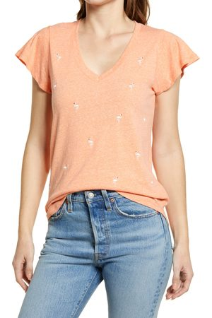 Wit & Wisdom Women's Embroidered Flutter Sleeve Tee