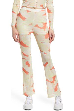 BP. Women's Painted Camo Print Mesh Flare Pants