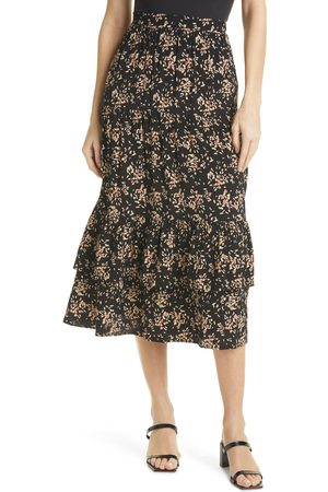 Ba & sh Women's Valou Floral Tiered Midi Skirt
