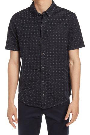 Vince Men's Short Sleeve Jacquard Pattern Button-Up Shirt