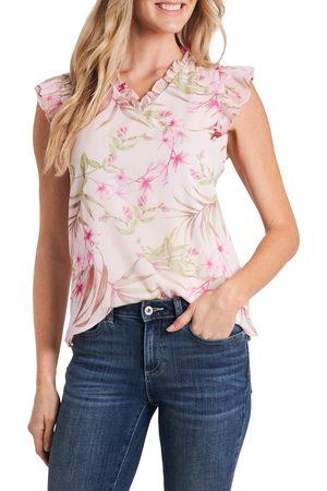 CE&CE Women's Ruffle Floral Print Chiffon Top