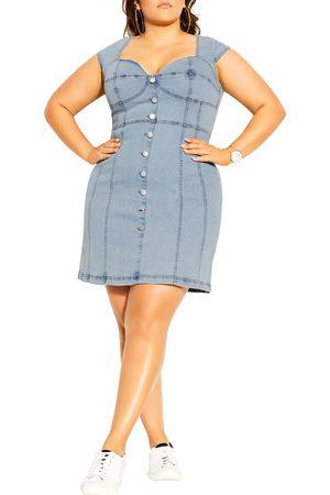 City Chic Plus Size Women's Sweetheart Neck Denim Minidress