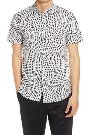 Open Edit Men's Short Sleeve Stretch Button-Up Shirt