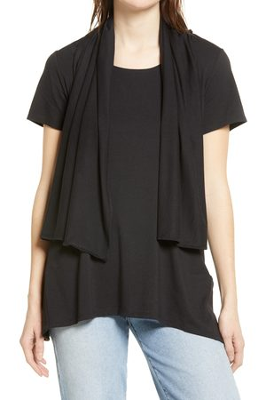 HUE Women's Convertible Scarf Lapel T-Shirt