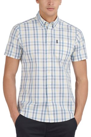 Barbour Men's Tailored Fit Tattersall Short Sleeve Button-Down Shirt