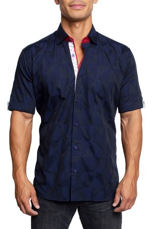 Maceoo Men's Galileo Triangles Short Sleeve Button-Up Shirt