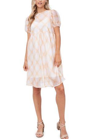 En Saison Women's Plaid Organza Babydoll Dress
