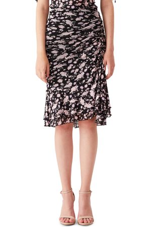 DVF Women's Alina Floral Ruched Mesh Skirt