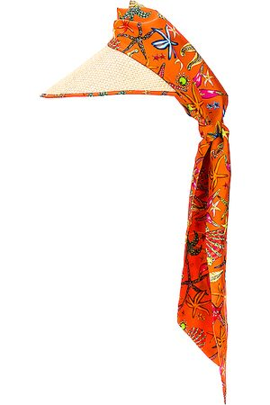 VERSACE Women Scarves - Tresor De La Mer All Over Scarf Hat in Orange