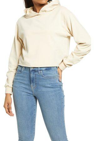 KENDALL + KYLIE Women's Ruched Sleeve Crop Hoodie