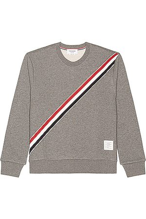 Thom Browne Men Sweatshirts - Diagonal Stripe Sweatshirt in Grey