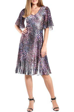 Komarov Women's Floral Flounce Sleeve Charmeuse Cocktail Dress