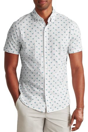 BONOBOS Men's Slim Fit Short Sleeve Knit Button-Down Shirt