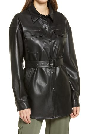 Sanctuary Women's Faux Leather Belted Shirt Jacket