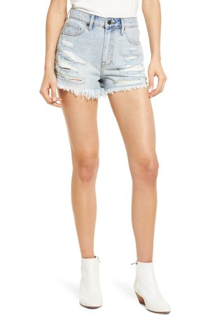 Hidden Jeans Women's Nonstretch Distressed High Waist Denim Cutoff Shorts