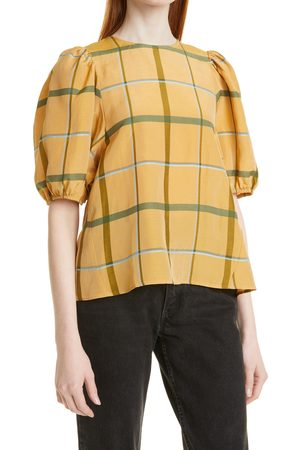 Samsøe Samsøe Women's Sams?e Sams?e Orion Plaid Puff Sleeve Top