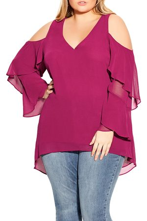 City Chic Plus Size Women's High/low Chiffon Cold Shoulder Tunic