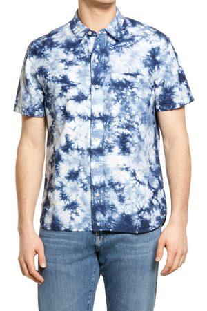 Madewell Men's Indigo Tie Dye Perfect Short Sleeve Button-Up Shirt