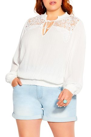 City Chic Plus Size Women's Innocence Embroidered Top