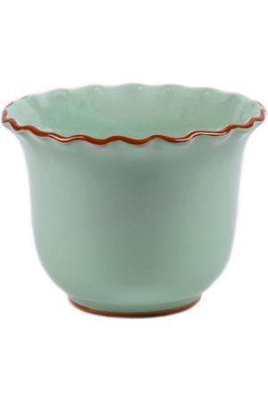Moda Domus ; Set-Of-Two Hand-Painted Medium Scalloped Ceramic Planters - Color: /pink - Material: Ceramic - Moda Operandi