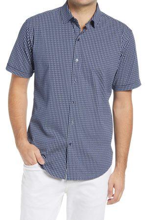Bugatchi Men's Men's Geometric Knit Short Sleeve Button-Up Shirt