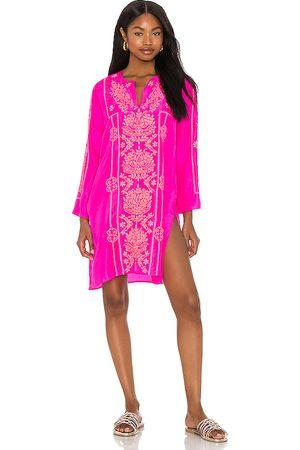 Juliet Dunn Women Beach Dresses - Neon Knee Kaftan in Fuchsia.
