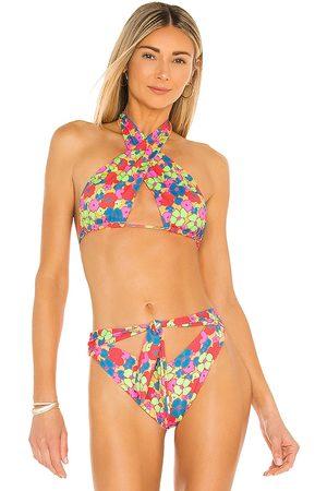 Frankies Bikinis Women Bikinis - Bash Bikini Top in Orange,Green.