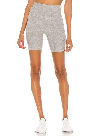 Beyond Yoga Women Sports Shorts - Spacedye Team Pockets Biker Shorts in Grey.