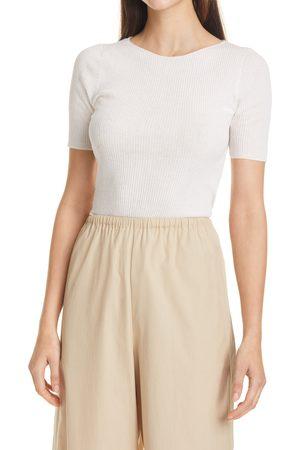 Vince Women's Camuto Rib Jewel Neck Short Sleeve Sweater