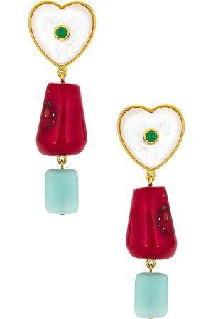 Lizzie Fortunato Women Earrings - I'm in Love Earrings in Red,Metallic Gold.