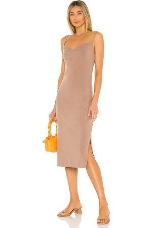 Bobi Draped Modal Jersey Dress in Brown.
