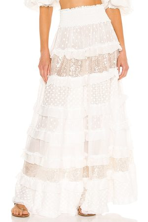 CHIO Ruffle And Embroidered Skirt in .