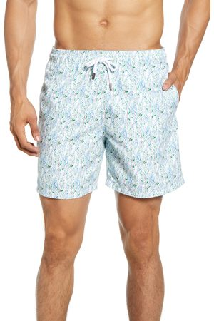 Stone Rose Men's Leaf Print Swim Trunks