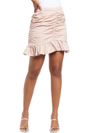 Open Edit Women's Ruched Ruffle Miniskirt