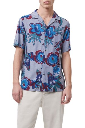 French Connection Men's Floral Short Sleeve Button-Up Shirt