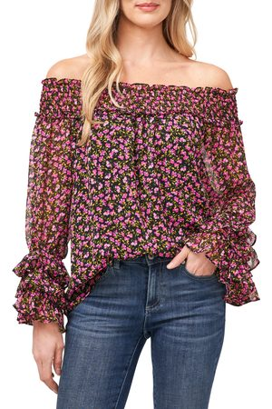 CE&CE Women's Bella Ditsy Smocked Off The Shoulder Chiffon Blouse