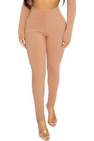 Naked Wardrobe Women's High Waist V-Cut Rib Leggings