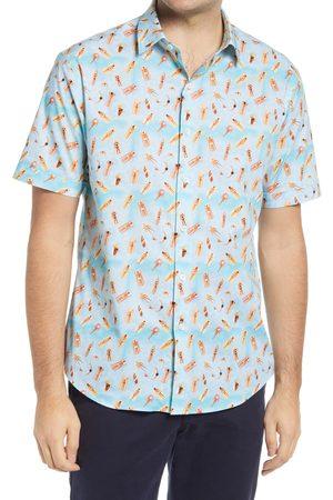 Bugatchi Men's Shaped Fit Sunbathers Short Sleeve Button-Up Shirt