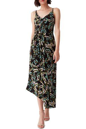 DVF Women's Amy Chain Print Asymmetrical Tie Dress
