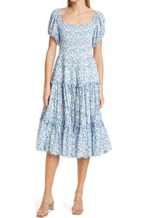 LOVESHACKFANCY Women's Masie Floral Smocked Tiered Midi Dress