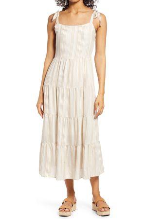 Caslon Women's Caslon Stripe Tie Shoulder Tiered Sundress