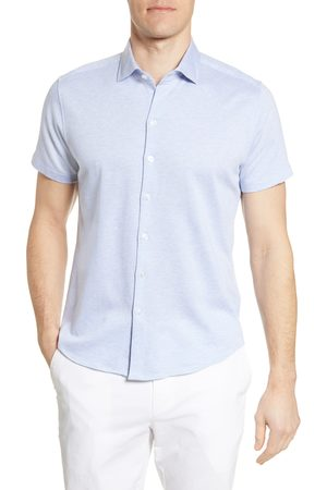 Robert Barakett Men's Lanville Short Sleeve Knit Button-Up Shirt