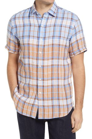 Bugatchi Men's Shaped Fit Check Short Sleeve Linen Button-Up Shirt
