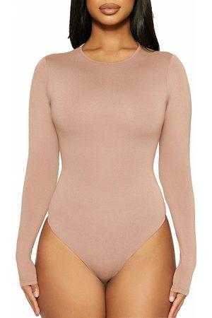 Naked Wardrobe Women's Got U In A Bind Long Sleeve Thong Bodysuit
