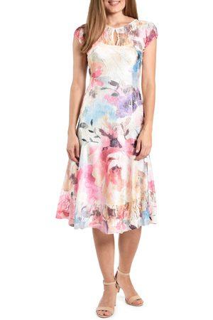 Komarov Women's Floral Keyhole Illusion Lace Cocktail Dress